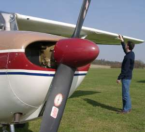 Pre-flight checking G-BSEP before departure to Goodwood