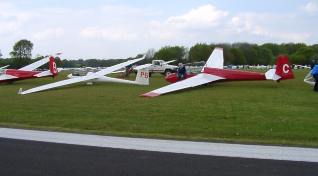 Gliders parked at Lasham